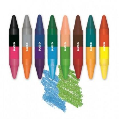 Creioane colorate duble Djeco