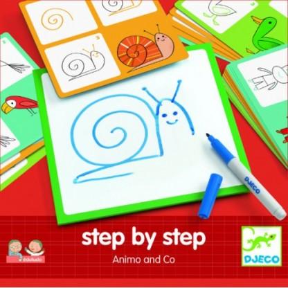 Deseneaza pas cu pas animale Djeco, de la 3 ani