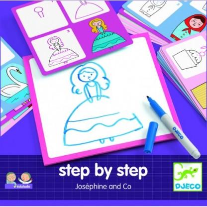 Deseneaza pas cu pas (pentru fete) Djeco, de la 3 ani