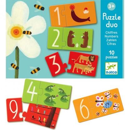 Puzzle duo Djeco Numere, de la 2 ani