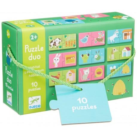 Puzzle Duo Djeco Habitat, de la 2 ani