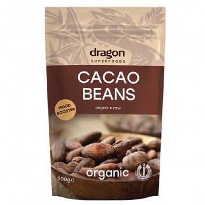 Boabe de cacao intregi BIO 200g Dragon Superfood