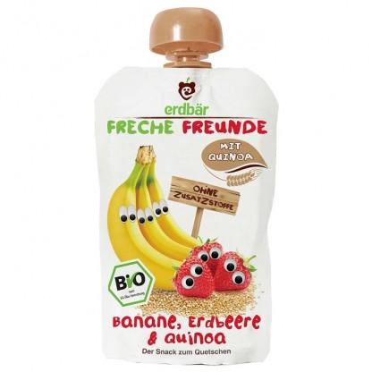 Piure de banane, capsuni si quinoa bio 100g Erdbar