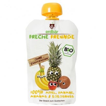 Piure de mere, banane, ananas si cocos BIO 100g Erdbar