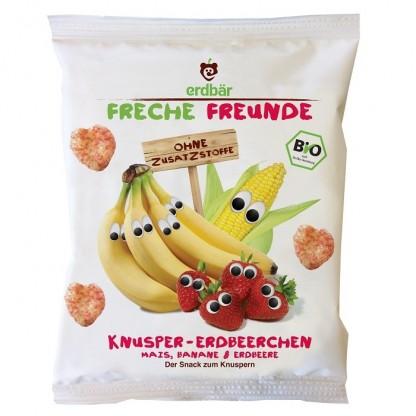 Gustare crocanta cu banane si capsuni BIO Erdbar 25g