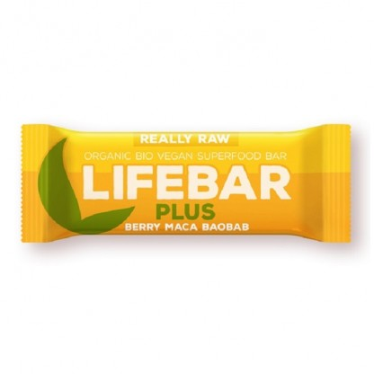Lifebar Plus baton cu fructe, maca si baobab raw bio 47g Lifefood