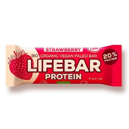 Lifebar baton proteic cu capsune Raw BIO 47g Lifefood