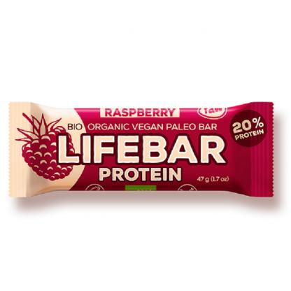 Lifebar baton proteic cu zmeura Raw BIO 47g Lifefood