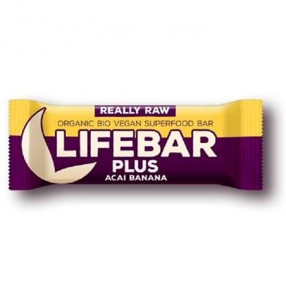 Lifebar Plus baton cu acai si banane raw bio 47g Lifefood