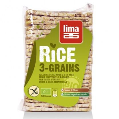 Rondele de orez expandat rectangulare cu 3 cereale bio 130g Lima