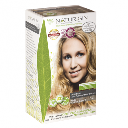 Vopsea naturala de par 10.3 Blond bej auriu Naturigin 115ml