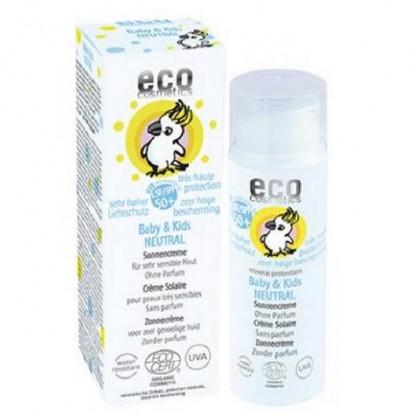 Crema bio protectie solara bebe si copii FPS50+ piele foarte sensibila fara parfum Eco Cosmetics