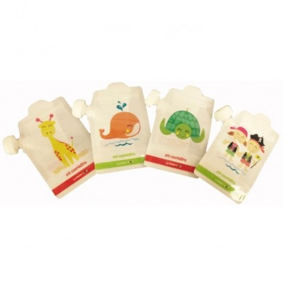 Pungute reutilizabile pentru hranirea bebelusului 4 buc Irisana Baby