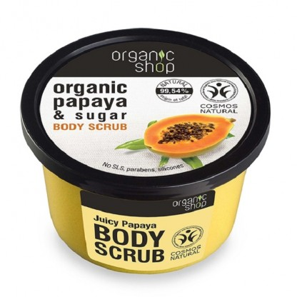 Scrub de corp delicios cu zahar si papaya Juicy Papaya 250ml Organic Shop
