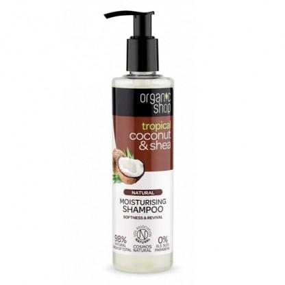 Sampon bio hidratant pentru par uscat Coconut si Shea 280ml Organic Shop