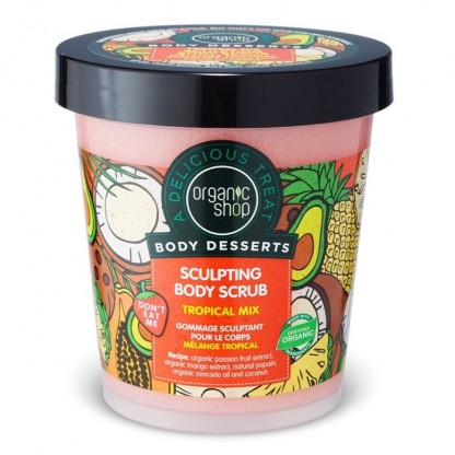 Scrub de corp delicios pentru remodelare Tropical Mix 450ml Organic Shop