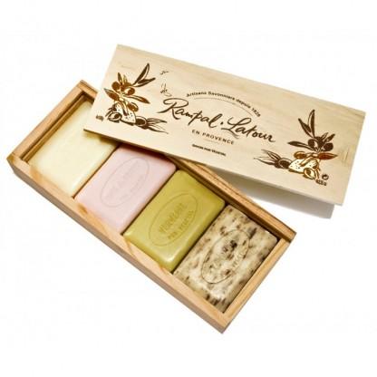 4 sapunuri naturale in cutie din lemn cadou 400g Rampal Latour