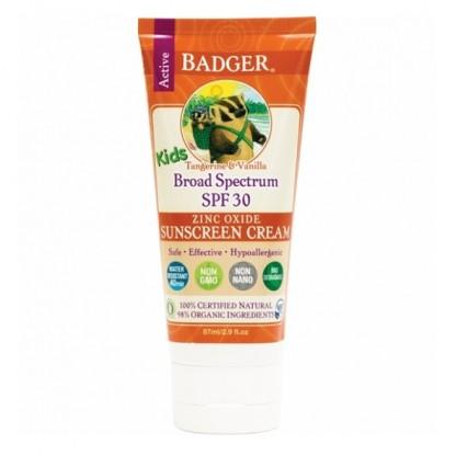 Crema protectie solara SPF 30 cu mandarine si vanilie pt copii 87ml Badger Organic