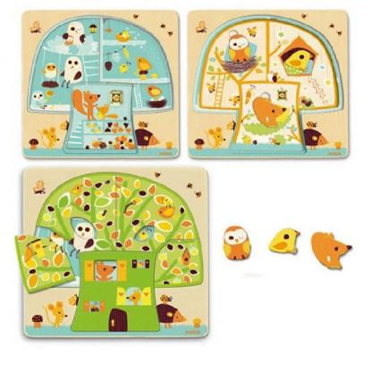 Puzzle lemn copacul Djeco de la 2 ani