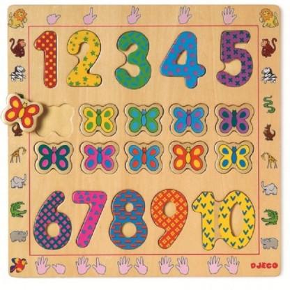 Puzzle din lemn Djeco Cifre, de la 2 ani