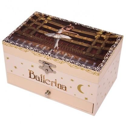 Cutie muzicala dreptunghiulara cu sertar Ballerina Trousselier