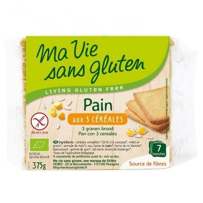 Paine feliata cu 3 cereale, fara gluten 375g Ma vie sans Gluten