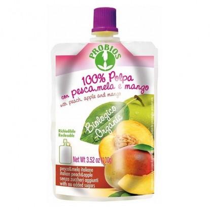 Piure de piersici, mere, mango BIO (fara zahar) 100g Probios
