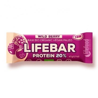 Lifebar baton proteic cu fructe de padure Raw BIO 47g Lifefood