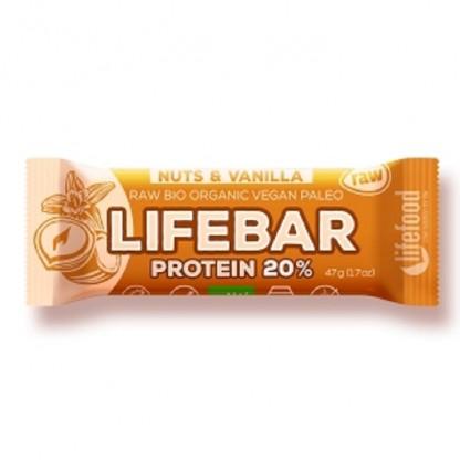 Lifebar baton proteic cu nuci si vanilie Raw BIO 47g Lifefood