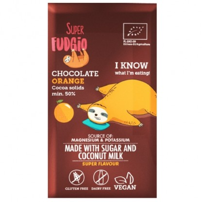 Ciocolata cu portocale BIO Vegan, fara gluten 80g Super Fudgio