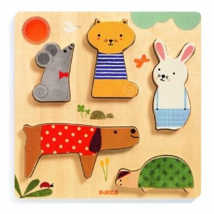 Puzzle lemn DJECO animale de companie, de la 1 an