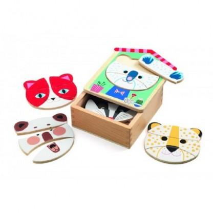 Puzzle lemn Djeco Face mix, de la 2 ani