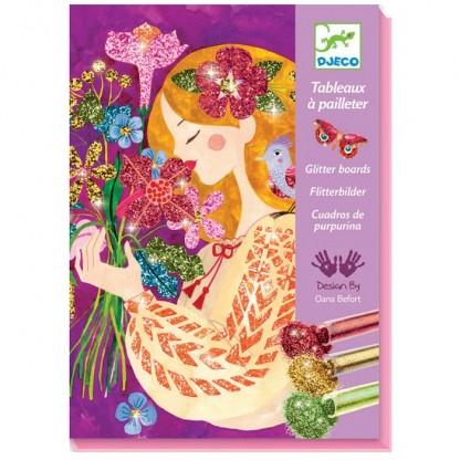 Joc creativ cu sclipici Parfumul Florilor Djeco, de la 7 ani