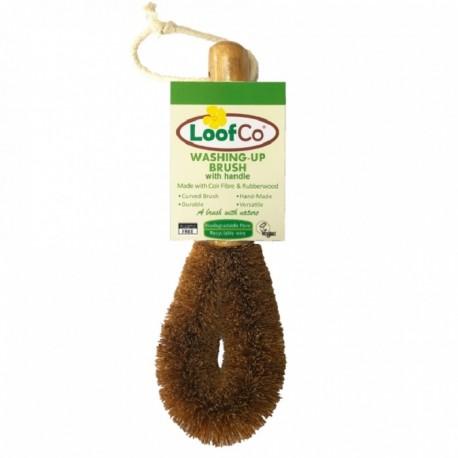 Perie lufa cu maner, din fibre de cocos, pt spalat vasele, LoofCo