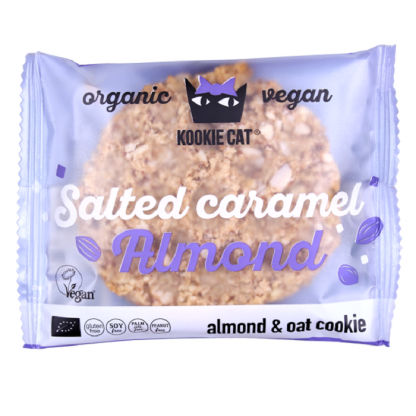 Cookie cu migdale si caramel sarat, fara gluten BIO 50g Kookie Cat