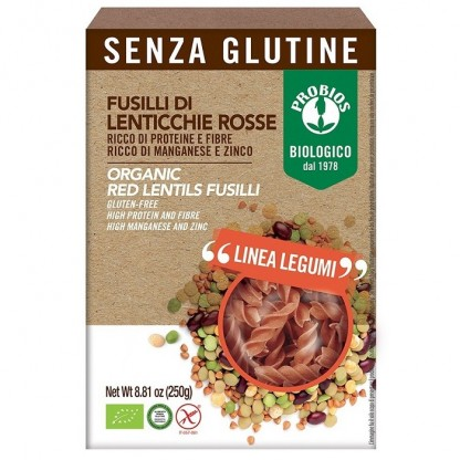 Fusilli din linte rosie BIO, fara gluten 250g Probios