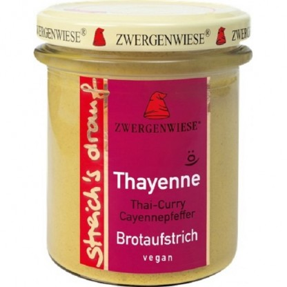 Crema tartinabila vegetala Thayenne cu Thai curry si piper de cayenne fara gluten, BIO 160g Zwergenwiese