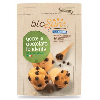 Picaturi BIO de ciocolata amaruie fara gluten 125g BIOSUN