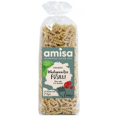 Fusilli din orez integral fara gluten BIO 500g Amisa