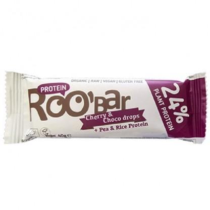Baton proteic cirese si ciocolata Raw BIO 40g Roobar