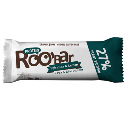 Baton proteic spirulina si lamaie Raw BIO 40g Roobar