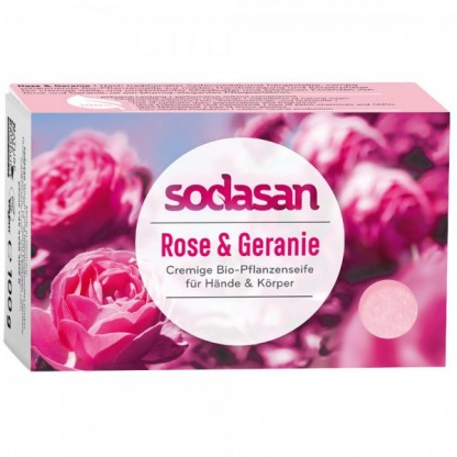 Sapun BIO cu trandafir si geraniu 100g Sodasan
