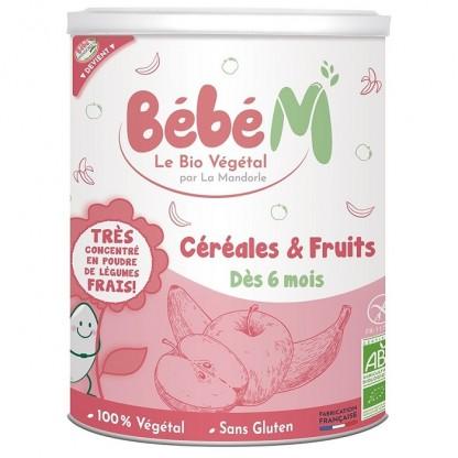 Cereale cu fructe pentru bebeluși, de la 6 luni (fara gluten) 400g Bebe Mandorle