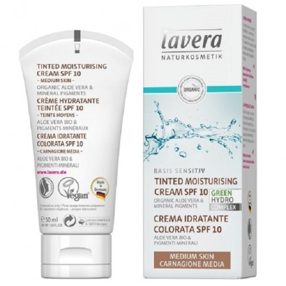 Crema hidratanta nuantata cu FPS10 pt ten mediu Basis Sensitiv 50 ml Lavera