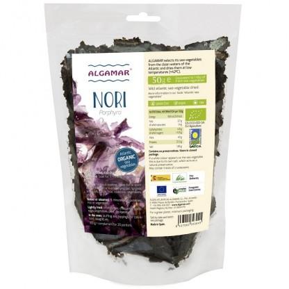 Alge nori (Porphyra umbilicalis) maruntite Raw BIO 50g Algamar