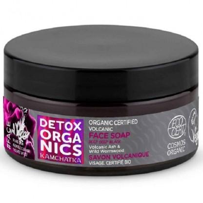 Sapun negru purifiant matifiant pt ten cu cenusa vulcanica 100ml Detox Organics