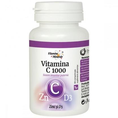 Vitamina C 1000mg cu zinc si D3 60 comprimate Dacia Plant