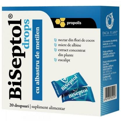 BiSeptol drops cu propolis si albastru de metilen 20 buc Dacia Plant