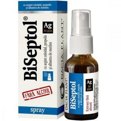 BiSeptol spray cu propolis, albastru de metilen si argint coloidal, fara alcool 20ml Dacia Plant