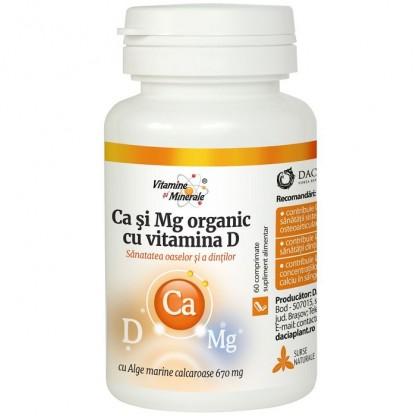 Calciu si Magneziu organic cu Vitamina D 60 comprimate Dacia Plant